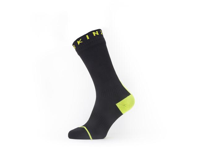 Sealskinz Waterproof All Weather Calcetines de longitud media, black/neon yellow